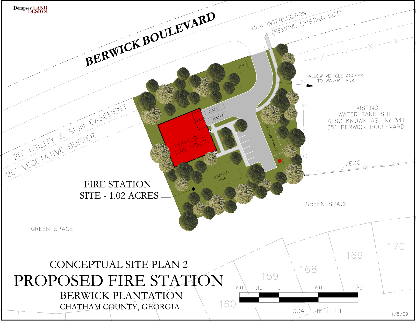 Conceptual Site Plan, Fire Station in Berwick Plantation, Savannah, Georgia