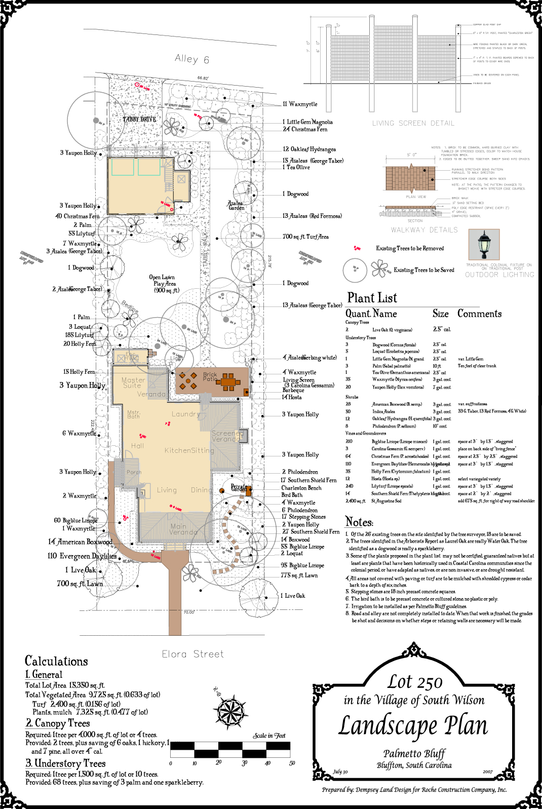 Landscape Plan, Palmetto Bluff, Bluffton, South Carolina