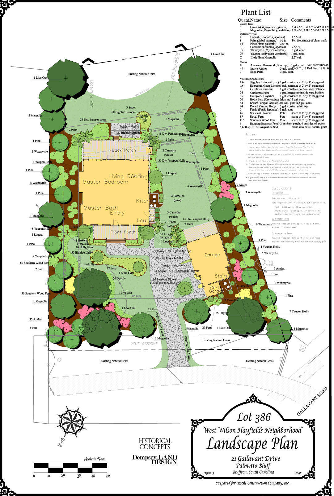 Lot Landscape Plan, Palmetto Bluff, Bluffton, South Carolina