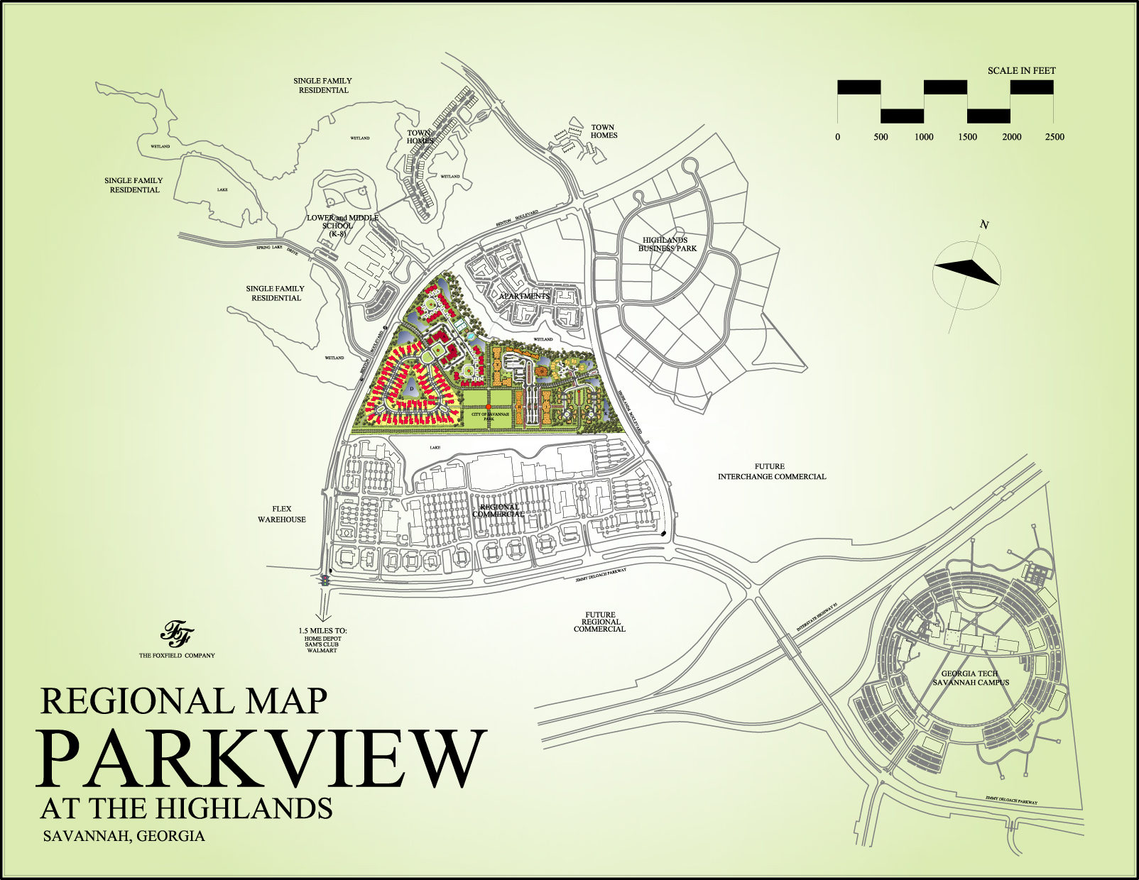 Regional Map, Parkview at The Highlands, Savannah, Georgia